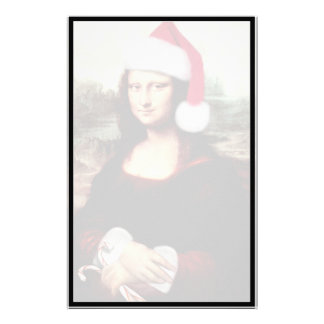 Mona Lisa Wearing a Santa Hat (Add Your Text) Customized Stationery
