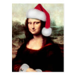 Mona Lisa Wearing a Santa Hat Post Card