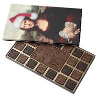 Mona Lisa Wearing a Santa Hat 45 Piece Box Of Chocolates