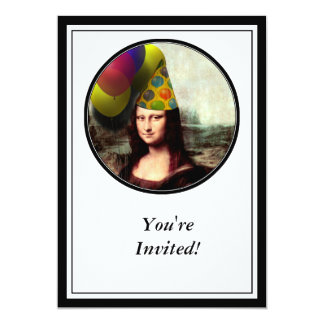 Mona Lisa Wearing Party Hat Card