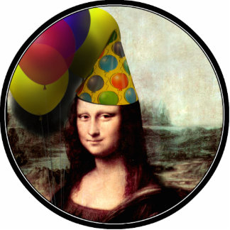 Mona Lisa Wearing Party Hat Cutout