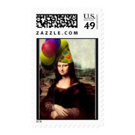 Mona Lisa Wearing Party Hat Postage