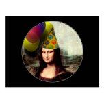 Mona Lisa Wearing Party Hat Postcard