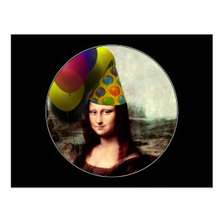 Mona Lisa Wearing Party Hat Postcard