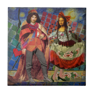 Mona Lisa Whimsical Ceramic Tile