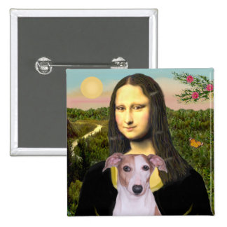 Mona Lisa - Whippet (#7 light red) 2 Inch Square Button