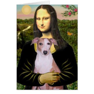 Mona Lisa - Whippet (#7 light red) Greeting Card
