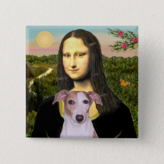 Mona Lisa - Whippet (#7 light red) Pinback Button