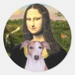 Mona Lisa - Whippet (#7 rojos claros) Pegatinas Redondas