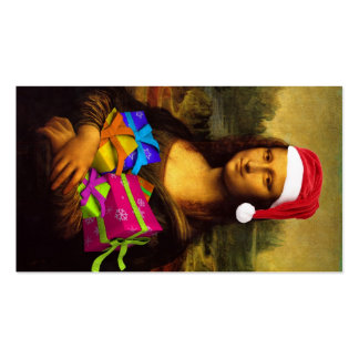 Mona Lisa Wishing Merry Christmas Double-Sided Standard Business Cards (Pack Of 100)