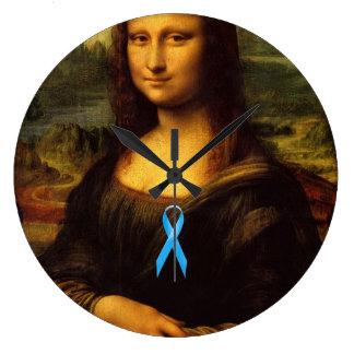 Mona Lisa With Blue Ribbon Large Clock