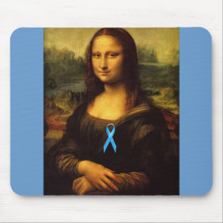 Mona Lisa With Blue Ribbon Mouse Pad