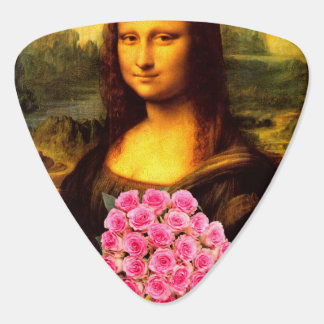 Mona Lisa With Bouquet Of Pink Roses Guitar Pick