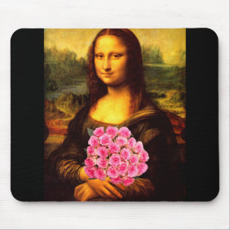 Mona Lisa With Bouquet Of Pink Roses Mouse Pad