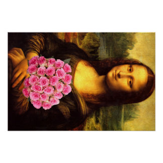 Mona Lisa With Bouquet Of Pink Roses Poster
