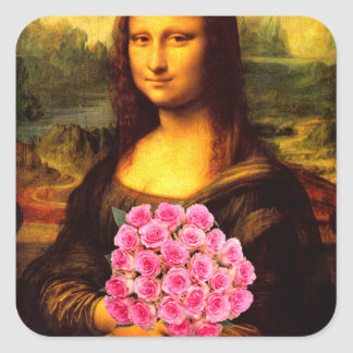 Mona Lisa With Bouquet Of Pink Roses Square Sticker