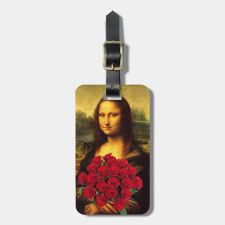 Mona Lisa With Bouquet Of Red Roses Luggage Tag