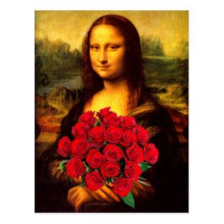 Mona Lisa With Bouquet Of Red Roses Postcard