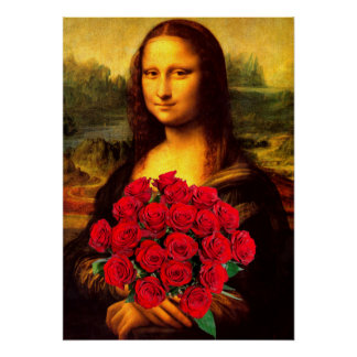 Mona Lisa With Bouquet Of Red Roses Poster