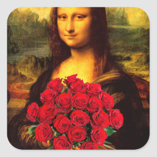 Mona Lisa With Bouquet Of Red Roses Square Sticker