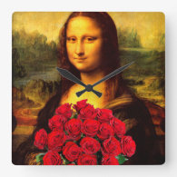 Mona Lisa With Bouquet Of Red Roses Square Wallclock
