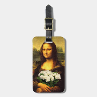 Mona Lisa With Bouquet Of White Roses Luggage Tag