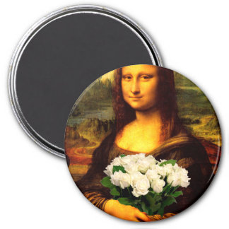 Mona Lisa With Bouquet Of White Roses Magnet