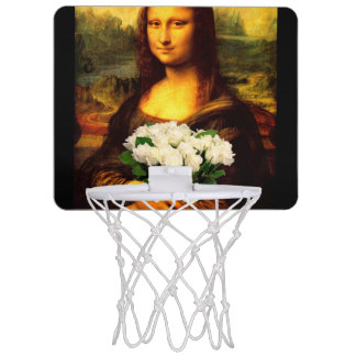 Mona Lisa With Bouquet Of White Roses Mini Basketball Hoop