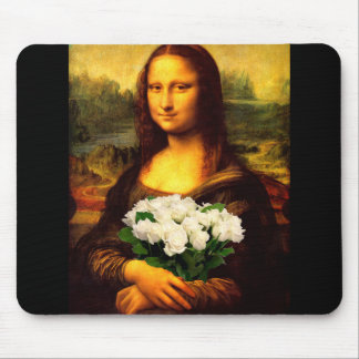 Mona Lisa With Bouquet Of White Roses Mouse Pad