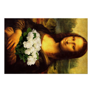 Mona Lisa With Bouquet Of White Roses Poster