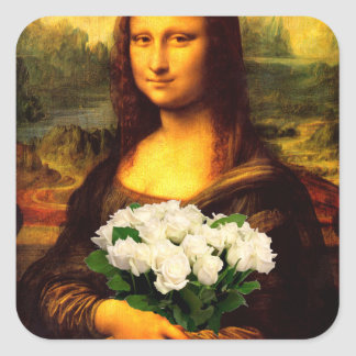 Mona Lisa With Bouquet Of White Roses Square Sticker