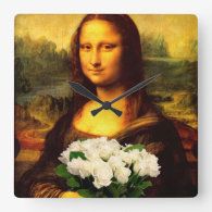 Mona Lisa With Bouquet Of White Roses Square Wallclock