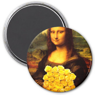 Mona Lisa With Bouquet Of Yellow Roses Magnet