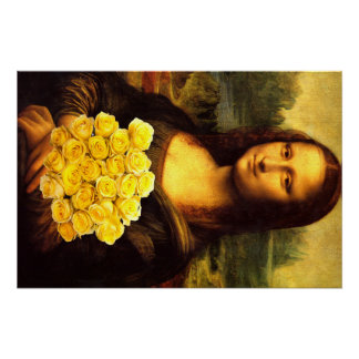 Mona Lisa With Bouquet Of Yellow Roses Poster