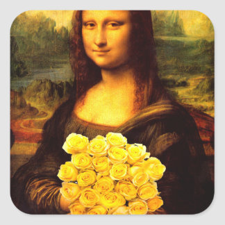 Mona Lisa With Bouquet Of Yellow Roses Square Sticker