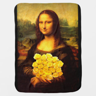 Mona Lisa With Bouquet Of Yellow Roses Stroller Blanket