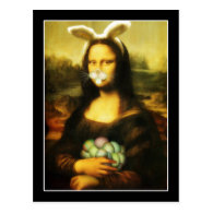 Mona Lisa With Bunny Ears & Whiskers Post Card