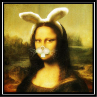 Mona Lisa With Bunny Ears & Whiskers Standing Photo Sculpture