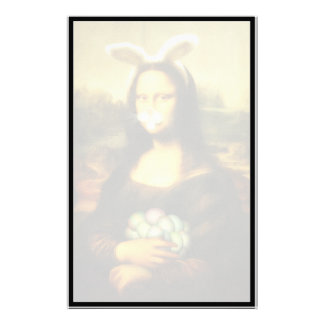 Mona Lisa With Bunny Ears & Whiskers Customized Stationery