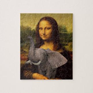 Mona Lisa With Elephant Jigsaw Puzzle