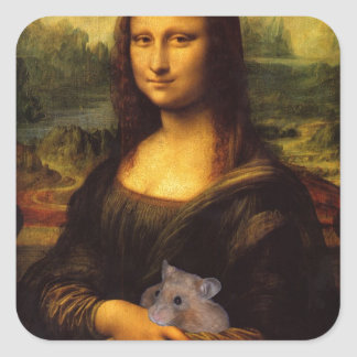 Mona Lisa With Hamster Square Sticker