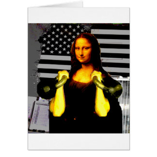 Mona Lisa with KettleBells Greeting Cards
