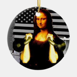 Mona Lisa with KettleBells Ceramic Ornament