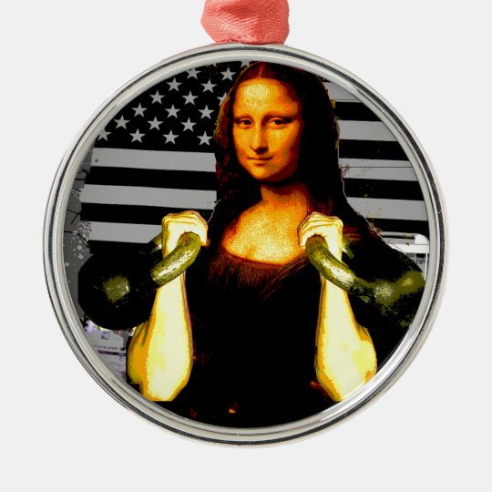 Mona Lisa with KettleBells Metal Ornament