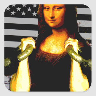 Mona Lisa with KettleBells Square Sticker
