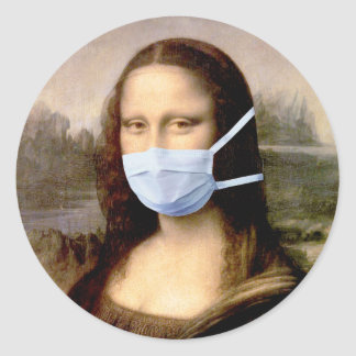 Mona Lisa with Mask Classic Round Sticker