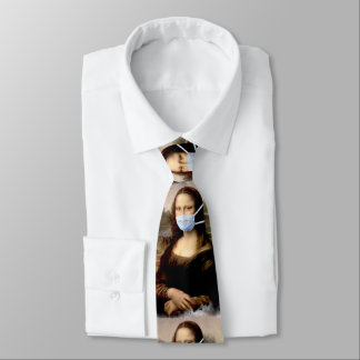 Mona Lisa with Mask Da Vinci Spoofing The Arts Tie