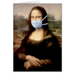 Mona Lisa with Mask Greeting Cards