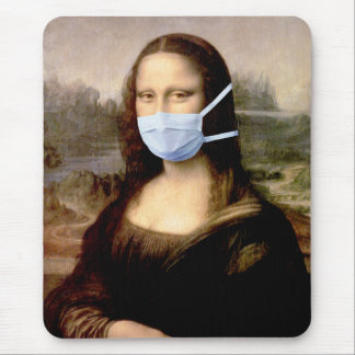 Mona Lisa with Mask Mouse Pad