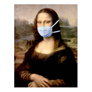 Mona Lisa with Mask Post Card